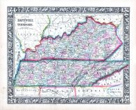 Kentucky and Tennessee, World Atlas 1864 Mitchells New General Atlas